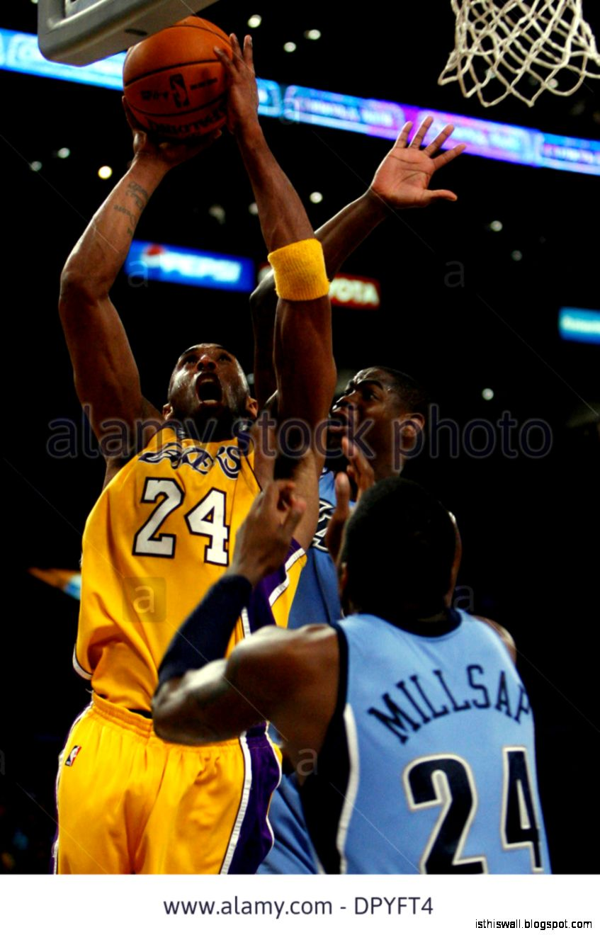 Los Angeles Lakers Kobe Bryant 24 Shoots As Utah Jazzs Ronnie