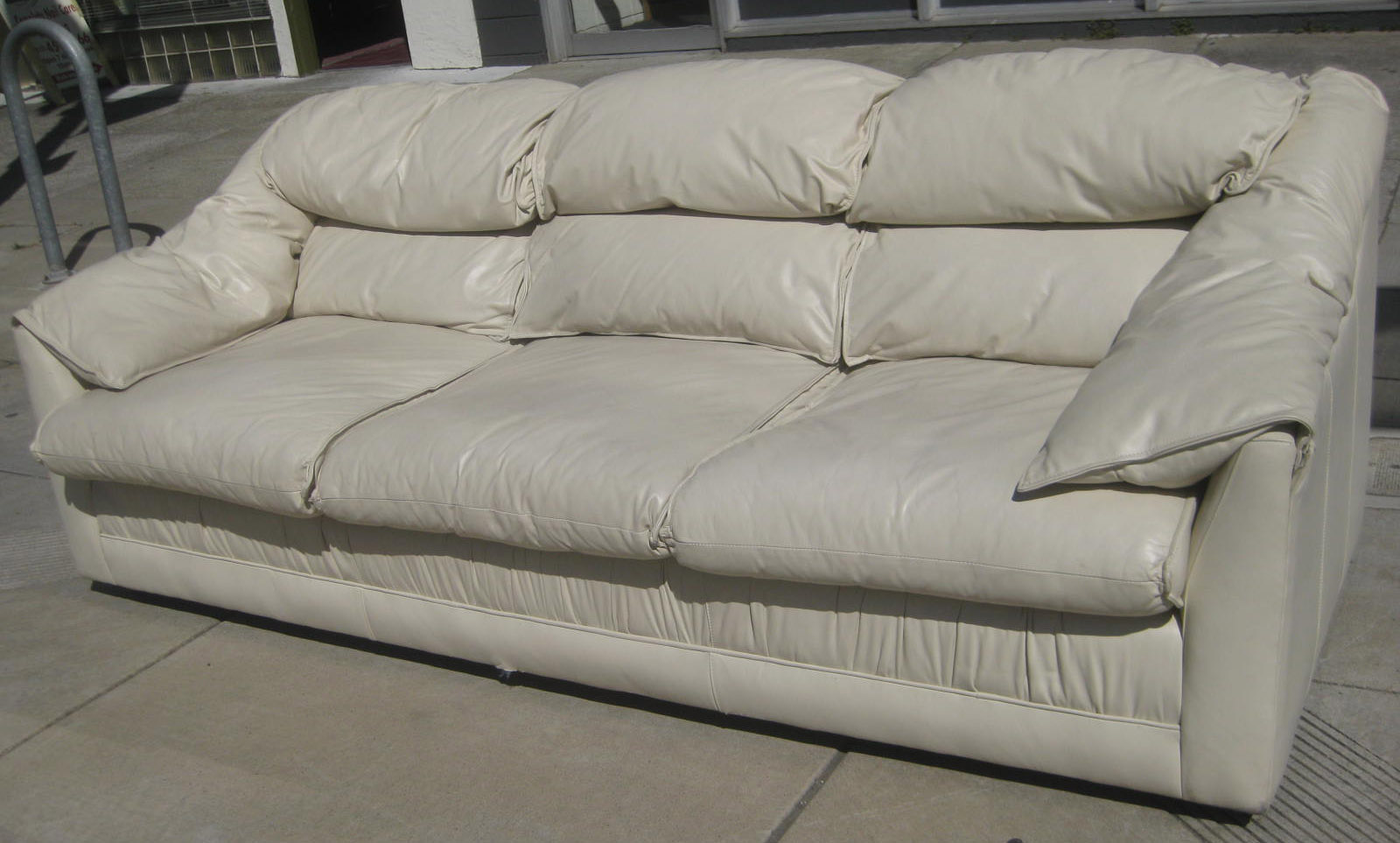 uhuru furniture collectibles sold white leather sofa