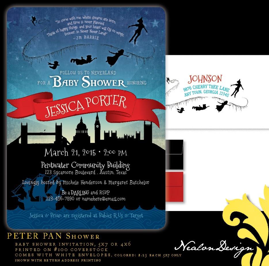 Nealon design peter pan baby shower invitation peter pan baby shower invitation filmwisefo