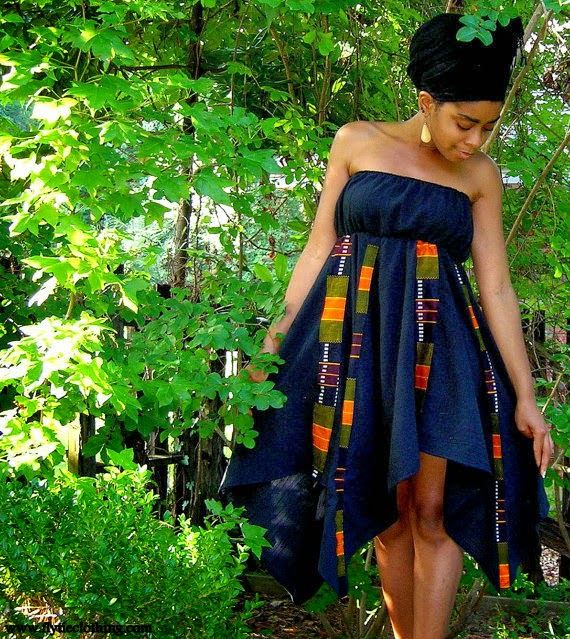Black Kente Print Dress