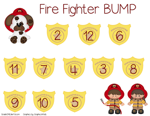 Bump: A math game to practice addition to 12. Fire Fighter theme. Made by GradeONEderful.com