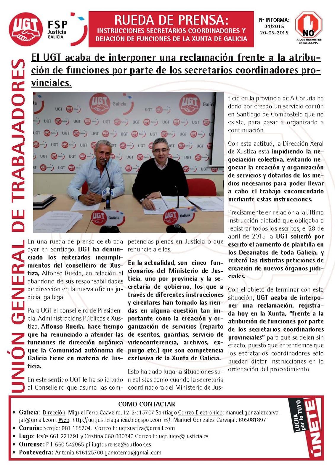 Ugt justicia galicia el ugt acaba de interponer una for Oficina virtual xunta galicia