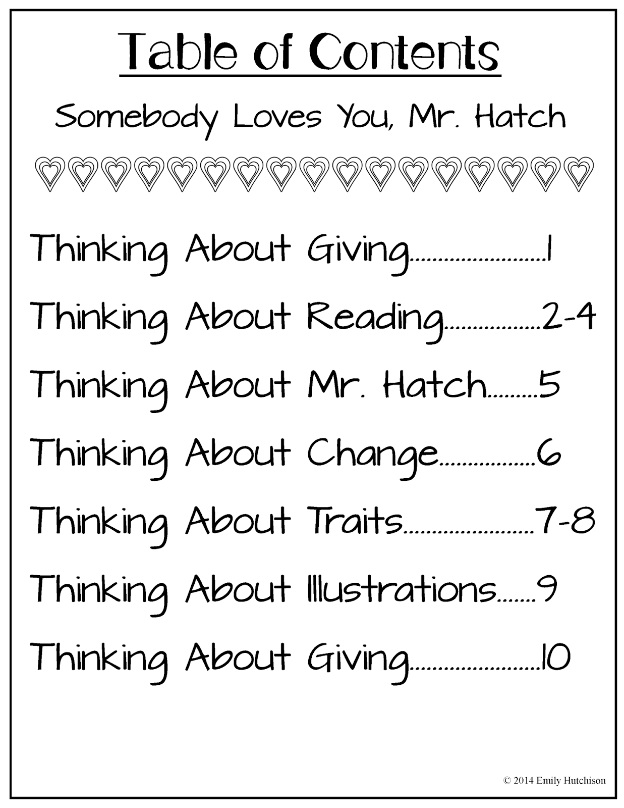 http://www.teacherspayteachers.com/Product/Thinking-About-Somebody-Loves-You-Mr-Hatch-1068453