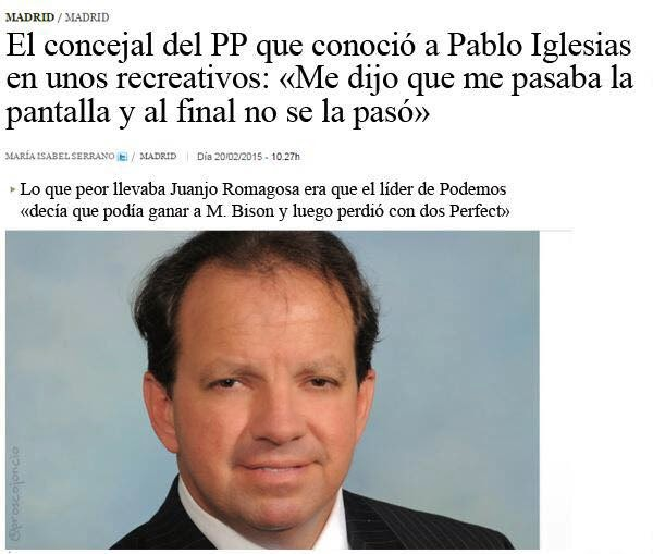 Concejal del PP que conoció a Pablo Iglesias en unos recreativos