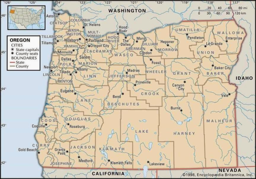 Free Oregon state printable map of US.