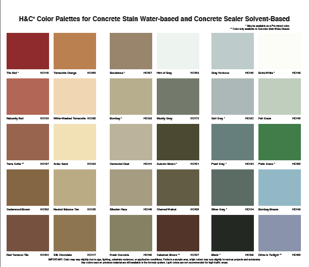 H C Concrete Stain Color Chart Lemsteraak