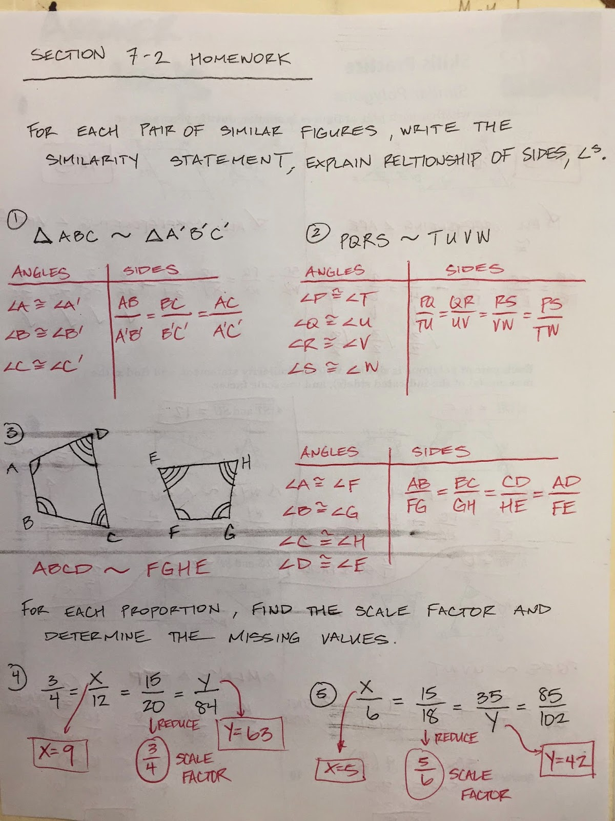 Honors Geometry - Vintage High School: Section 7-2 Similar Polygons