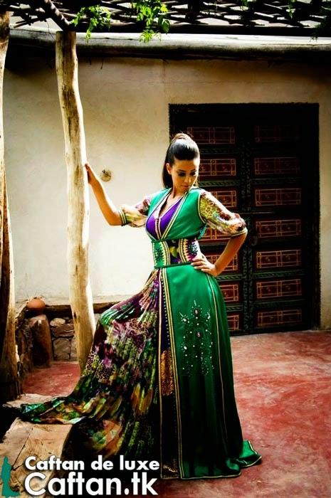 Vente enligne caftan marocain vert chic