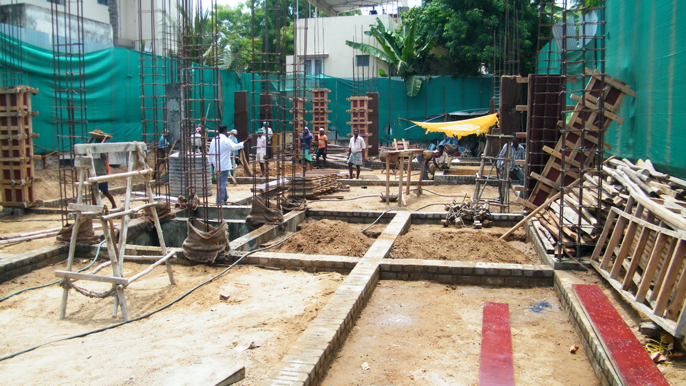 House construction in india digging the foundation for Drawing for house construction in india