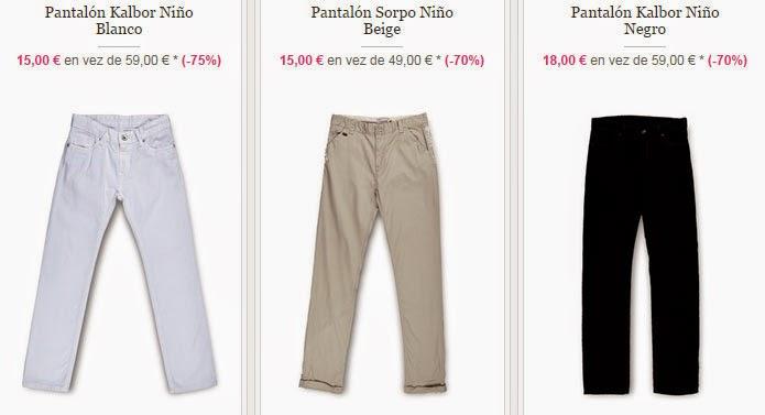 Ejemplos de pantalones disponibles para niño