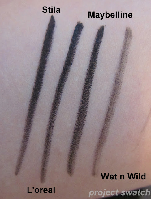Black gel eyeliner comparison - Stila, L'oreal, Maybelline, Wet n Wild swatches