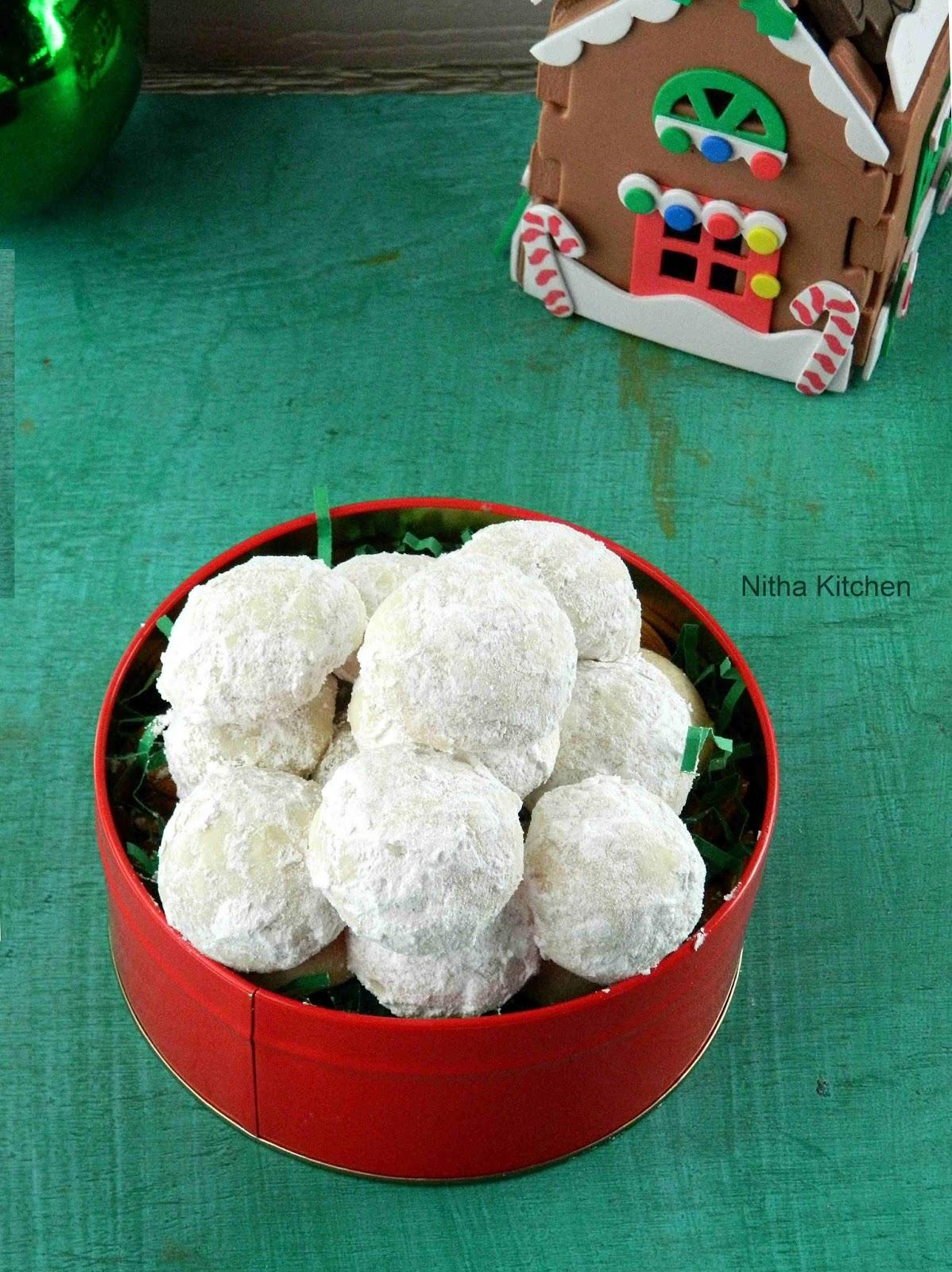 Snowball Cookies | Mexican Wedding Cookies Recipe - Nitha Kitchen