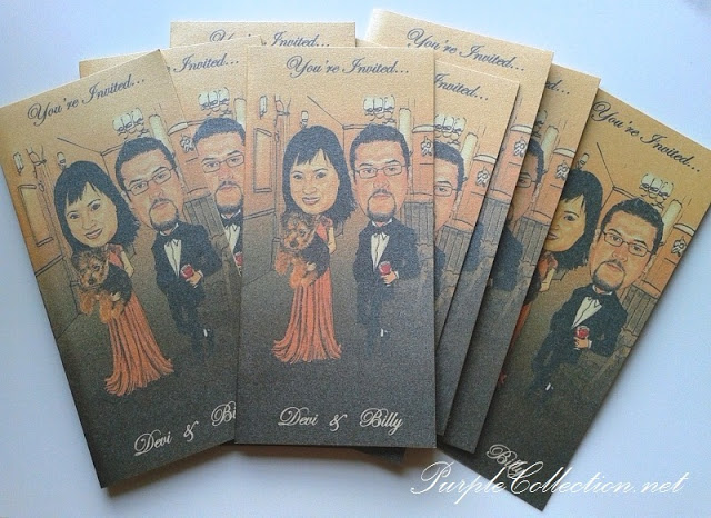 Caricature Wedding Invitation Cards, wedding caricature invites, caricature card, wedding card, invitation card, caricature wedding, devi and billy, cartoon wedding card