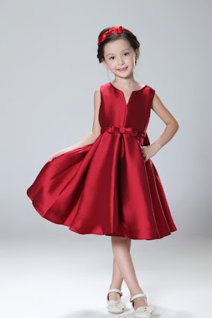 Red Flower Girls Retro Flare Dress