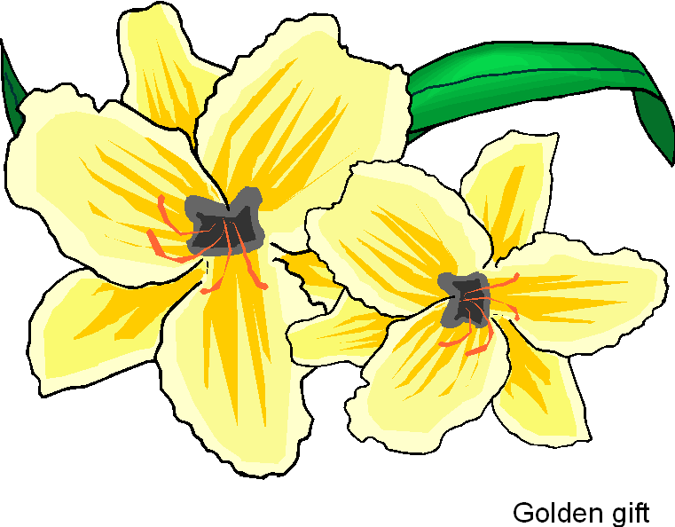 Golden Gift Free Flower Clipart