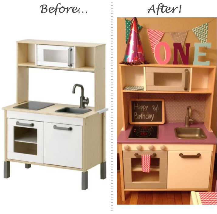 Inspired whims ikea play kitchen and table chairs upcycle for Play kitchen set ikea