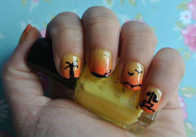 sun gradient nail art