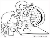 Mewarnai Gambar Anak SD Belajar Membaca Peta