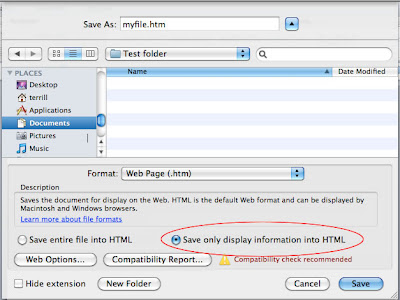 Screen shot of the Save as Web Page dialog in Office 2011 for Mac