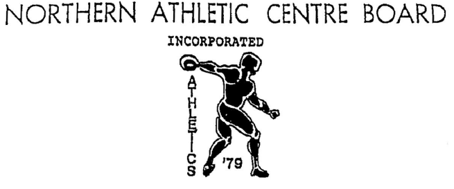 "Logo ""Northern Athletic Centre Board Incorporated Athletics '79"" with image of man throwing discus"