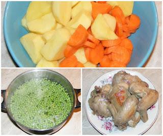 retete cu carne de pui si legume, mancaruri cu carne de pui si legume, retete culinare, mazare, cartofi, morcovi, carne, carne de pui,