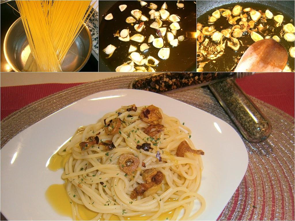 Espaguetis al aglio e olio.
