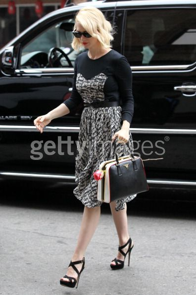 January Jones - Prada Pyramid Frame Bag