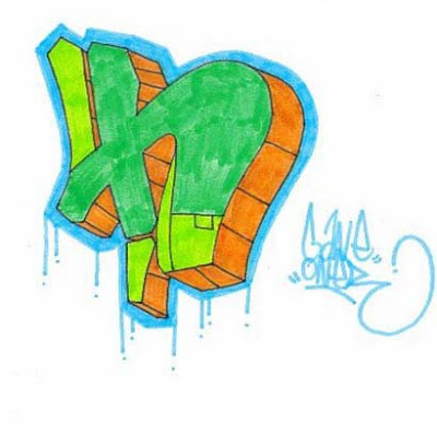 Full Graffiti Alphabet letter H
