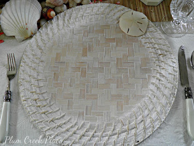 white washed rattan charger plates