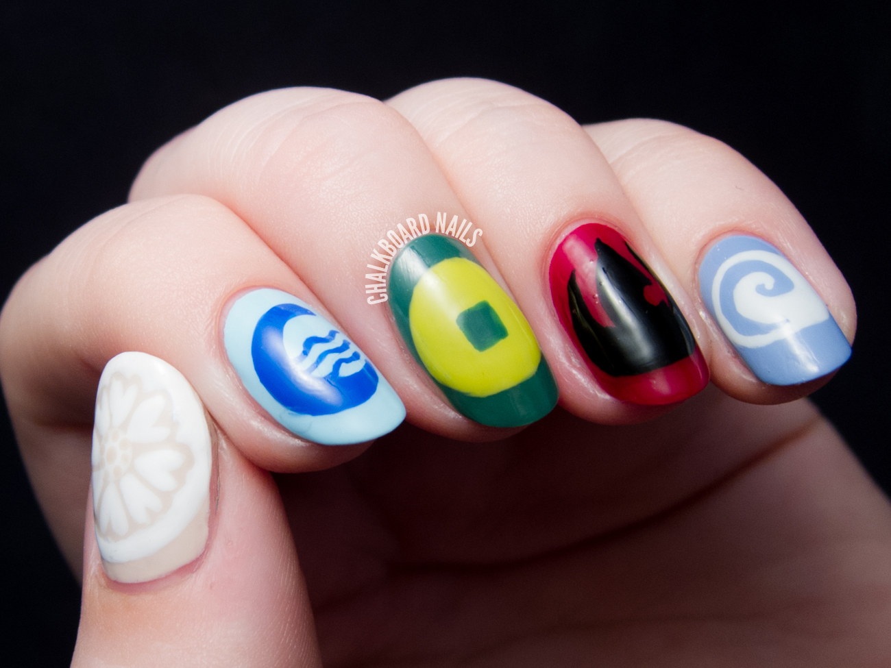 Avatar flag nail art by @chalkboardnails