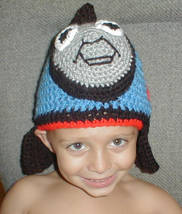 Free Crochet Hat Pattern For Thomas The Train : Karens Crocheted Garden of Colors: Jake wearing his Thomas ...