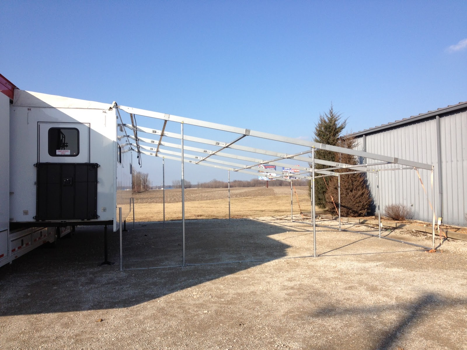 Example Of Awning Frame On Pull Out Style Trailer