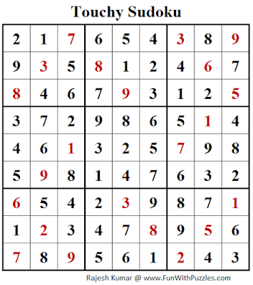 Touchy Sudoku (Fun With Sudoku #143) Answer