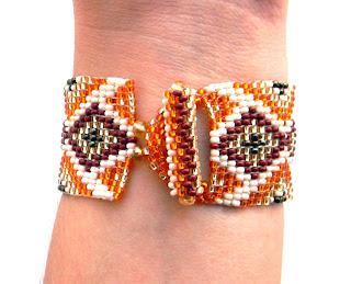 Комплект (гердан + браслет) - этнические украшения из бисера