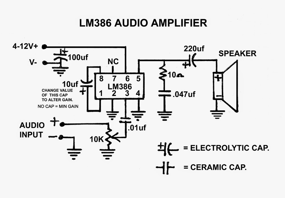 create a simple audio amplifier  lm386  part 1