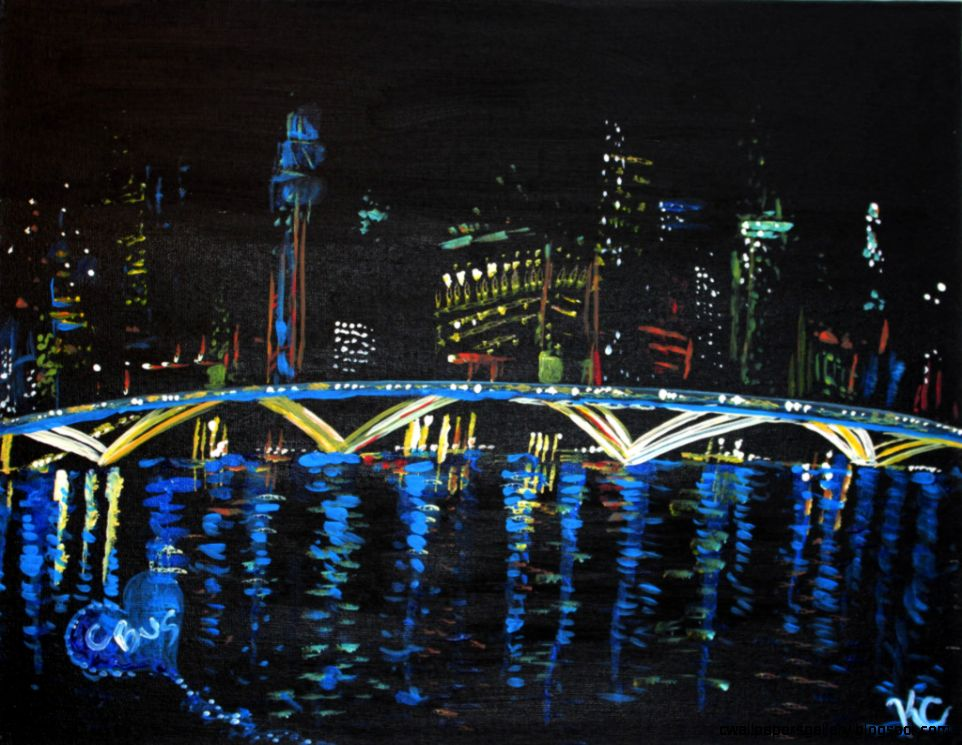 City Skyline At Night Painting