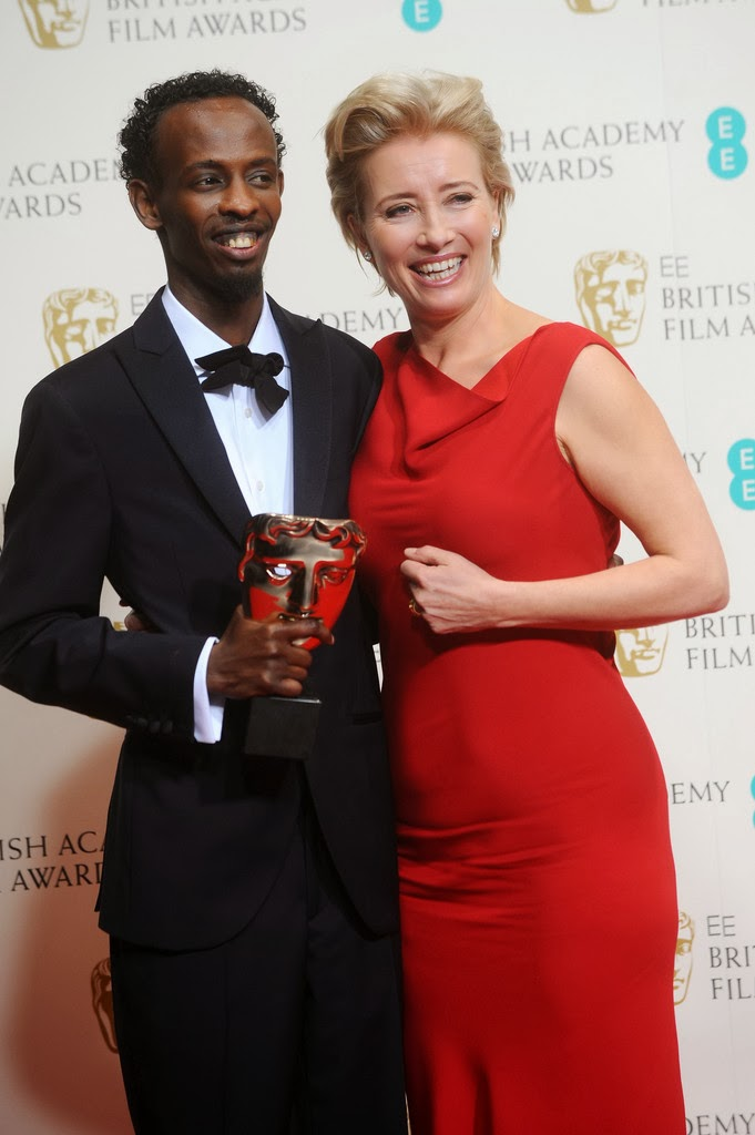 Barkhad Abdi in Hackett London - BAFTAs 2014