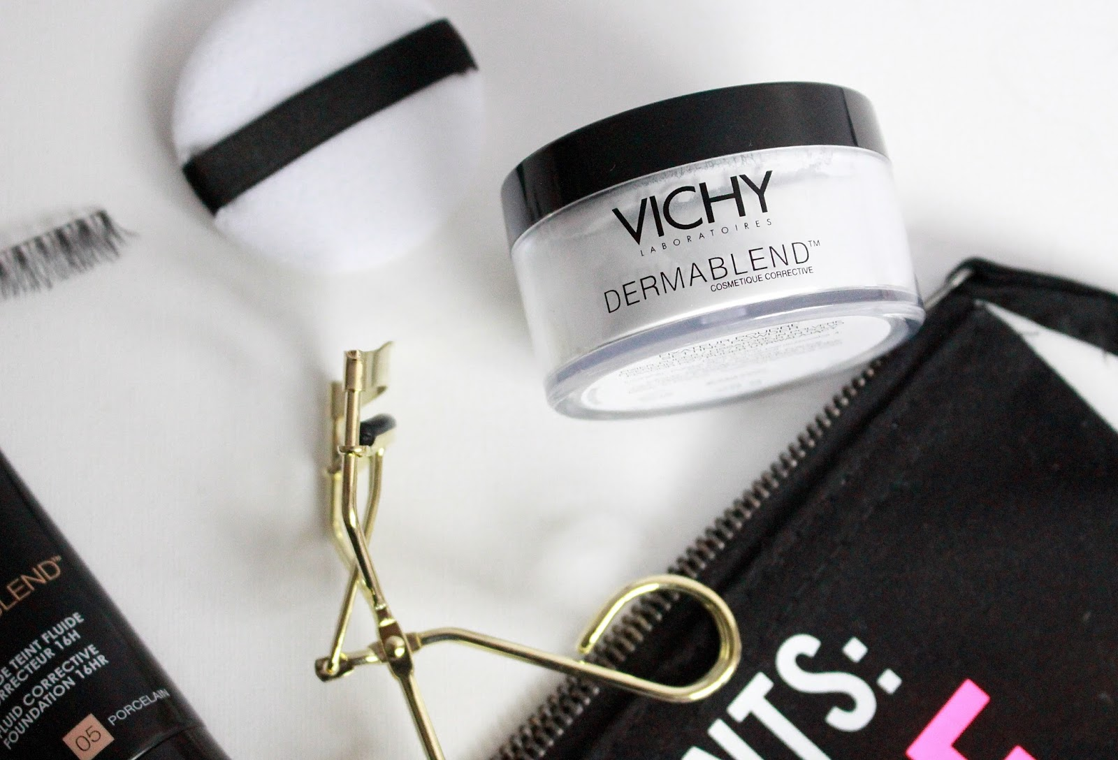 Vichy Dermablend, Loreal Foundation Review, Dermablend Review, Blogger Mail, Flatlay,Vichy setting Powder Review