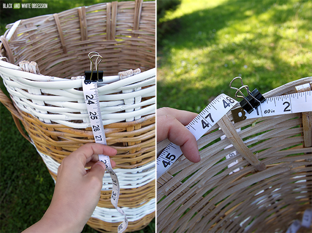 How to Makeover a Wicker Laundry Hamper: Measure | www.blackandwhiteobsession.com