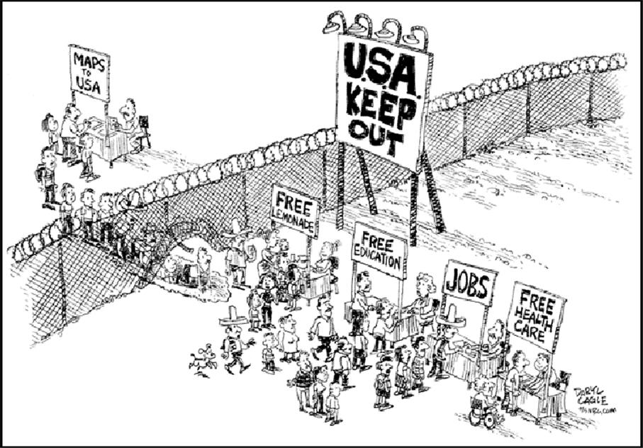 Political Cartoon Illegal Immigration in America