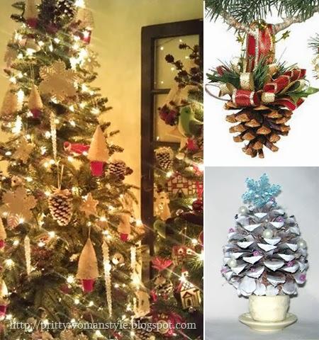 Коледна украса на дома от шишарки