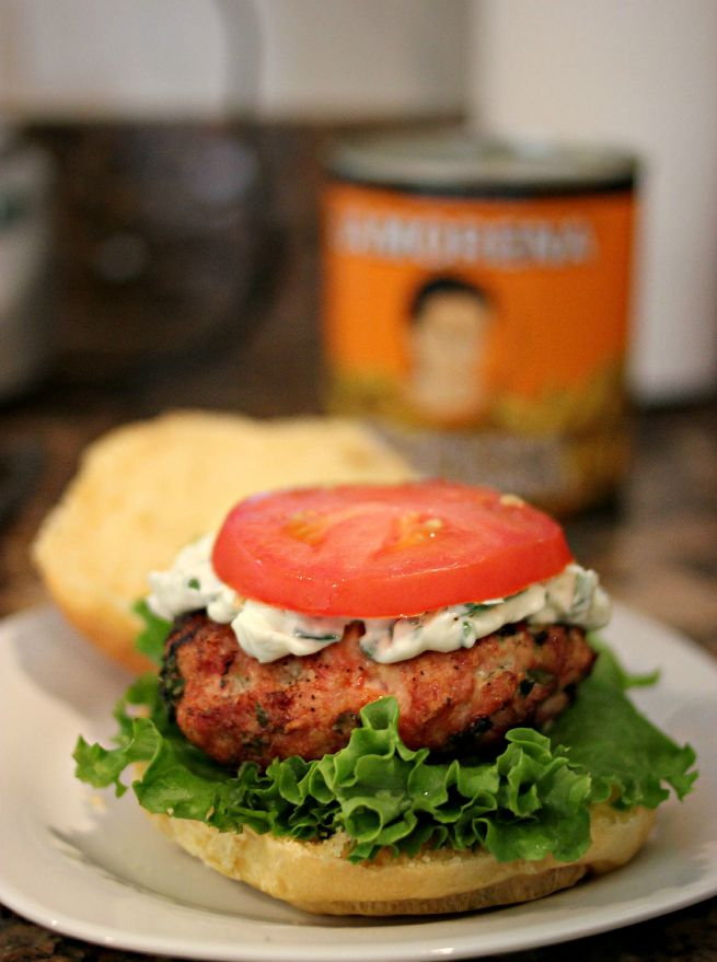 Jalapeno Popper Chicken Burgers Jalapeno Popper Chicken Burgers.  Bacon, chicken and jalapenos ground together, grilled and topped with jalapeno cream cheese.  #VivaLaMorena AD
