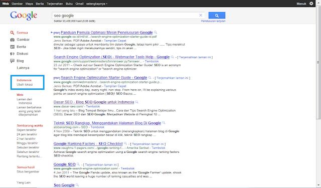 Lokasi di Pencarian Google Indonesia