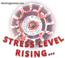 Photo of valve with caption: Stress Level Rising