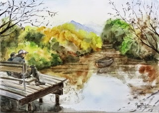 Wonderful Landscape lagoon, water and foliage  Watercolor Painting on paper size 29.5 x 42 cm