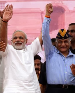 Former army chief General VK Singh & Narendra Modi