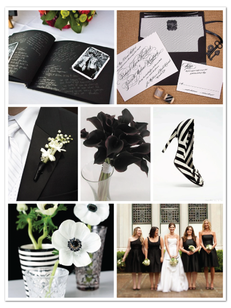 black white glamorous wedding inspiration board