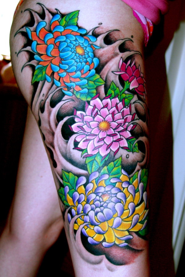 Tatuajes de flores japonesas -12