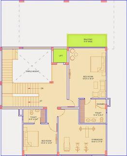 Golf Country, Yamuna Expressway :: Floor Plans,Golf Villa (325 sq. yd.):- First Floor Plan Plot Area: 1458.41 Sq. Ft.