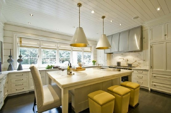 transitional white kitchen with white and gold inverted cone pendant lighting yellow low bar stools
